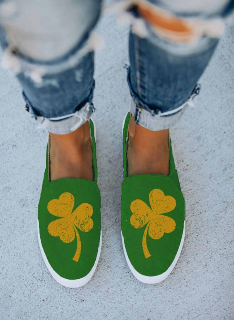 Women's Canvas Shoes Color Block Saint Patrick's Day Print Canvas Shoes - Durrye