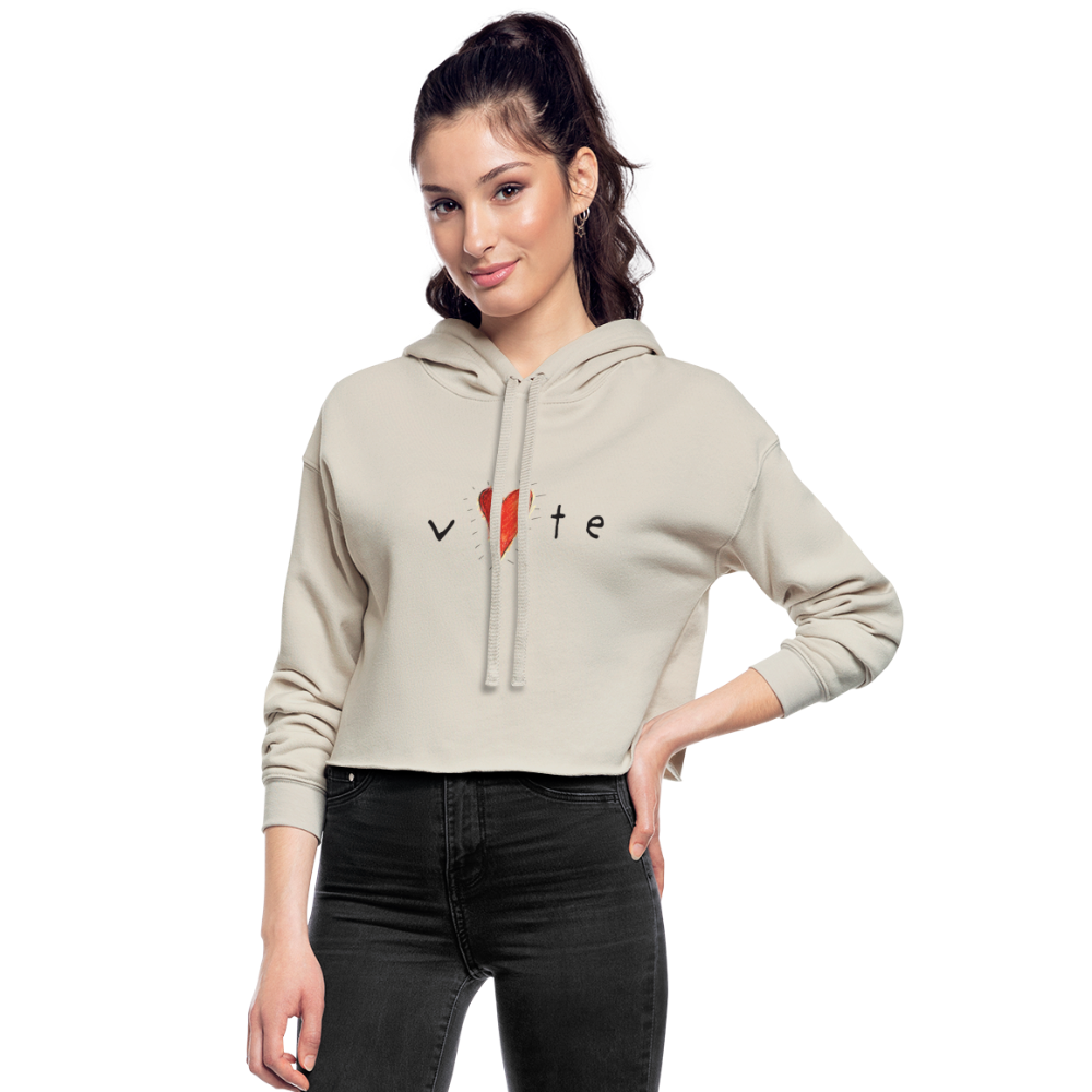 Hearbteat - Women's Cropped Hoodie - dust