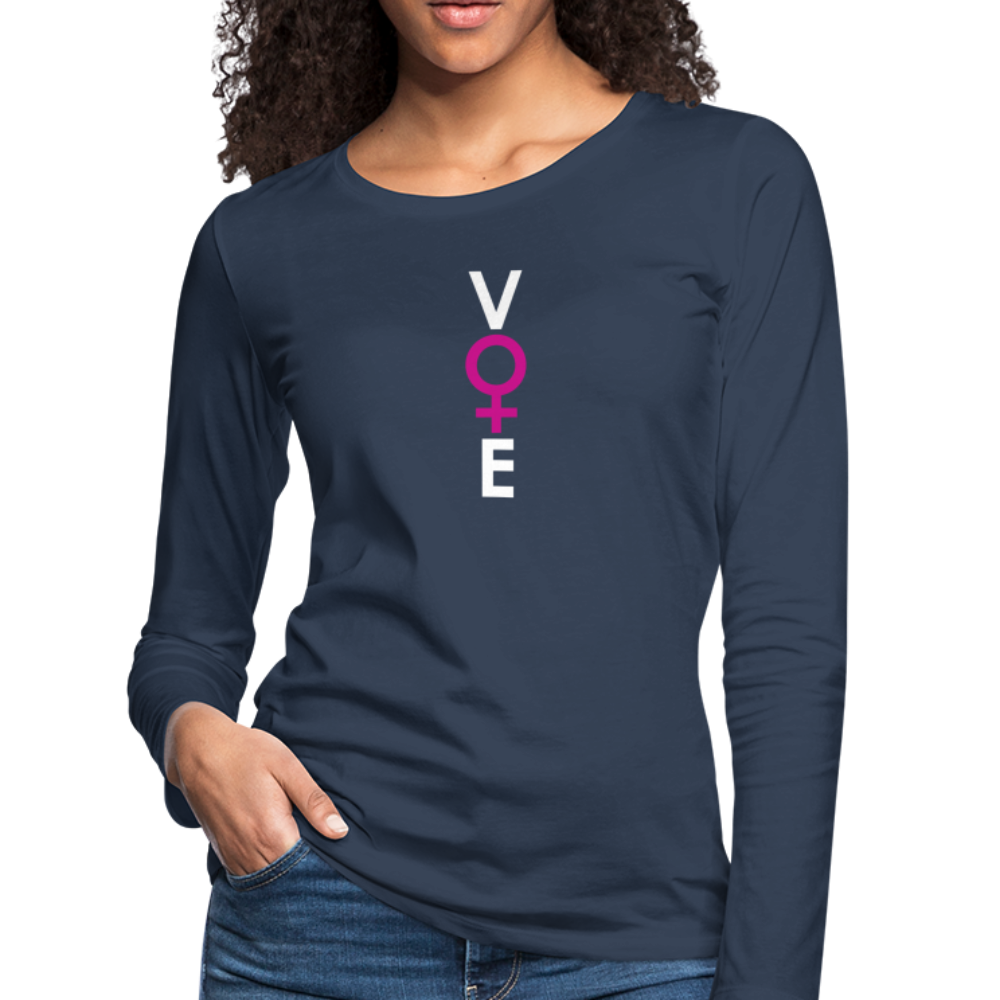 She Votes - Women's Premium Long Sleeve T-Shirt - front - navy