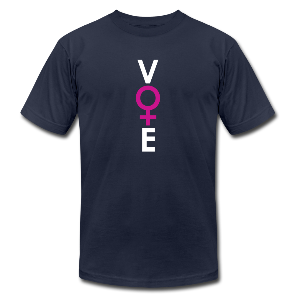 She Votes - Unisex Jersey T-Shirt by Bella + Canvas - navy
