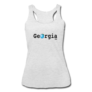 Georgia Blue  - Women's Tri-Blend Racerback Tank - heather white