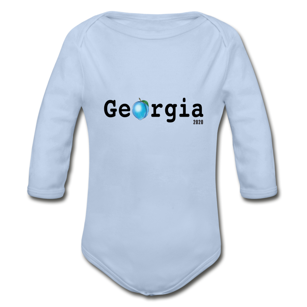 Georgia Blue - Organic Long Sleeve Baby Bodysuit - sky