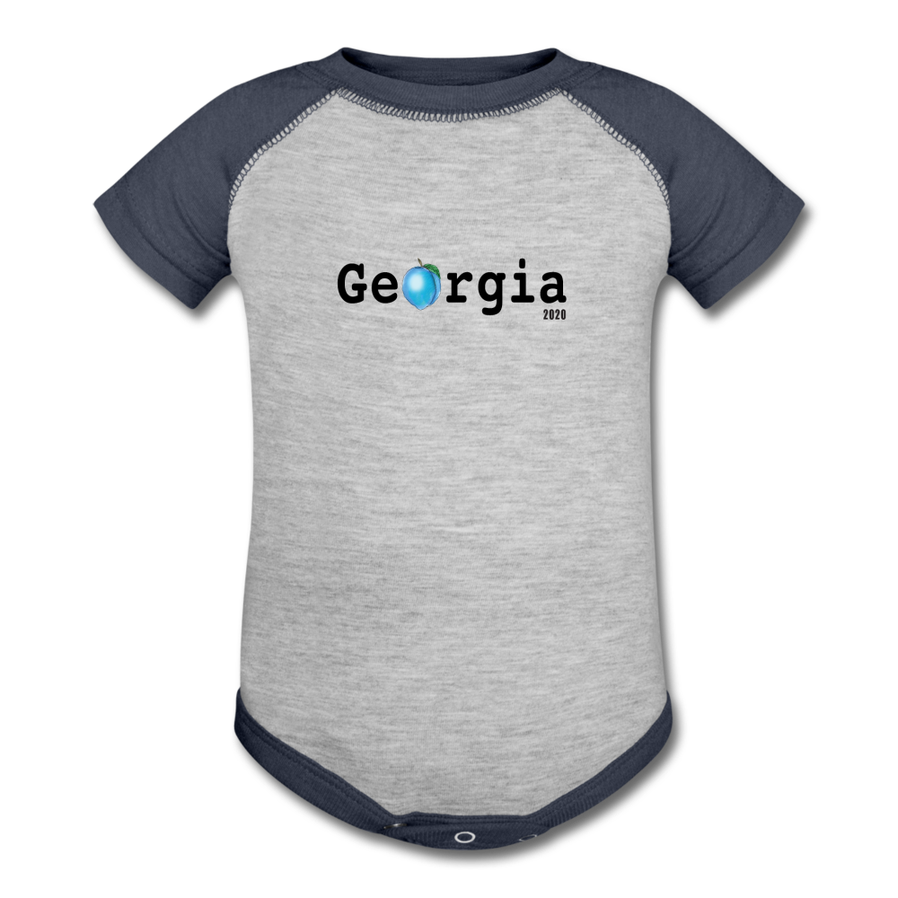 Georgia Blue - Baseball Baby Bodysuit - heather gray/navy