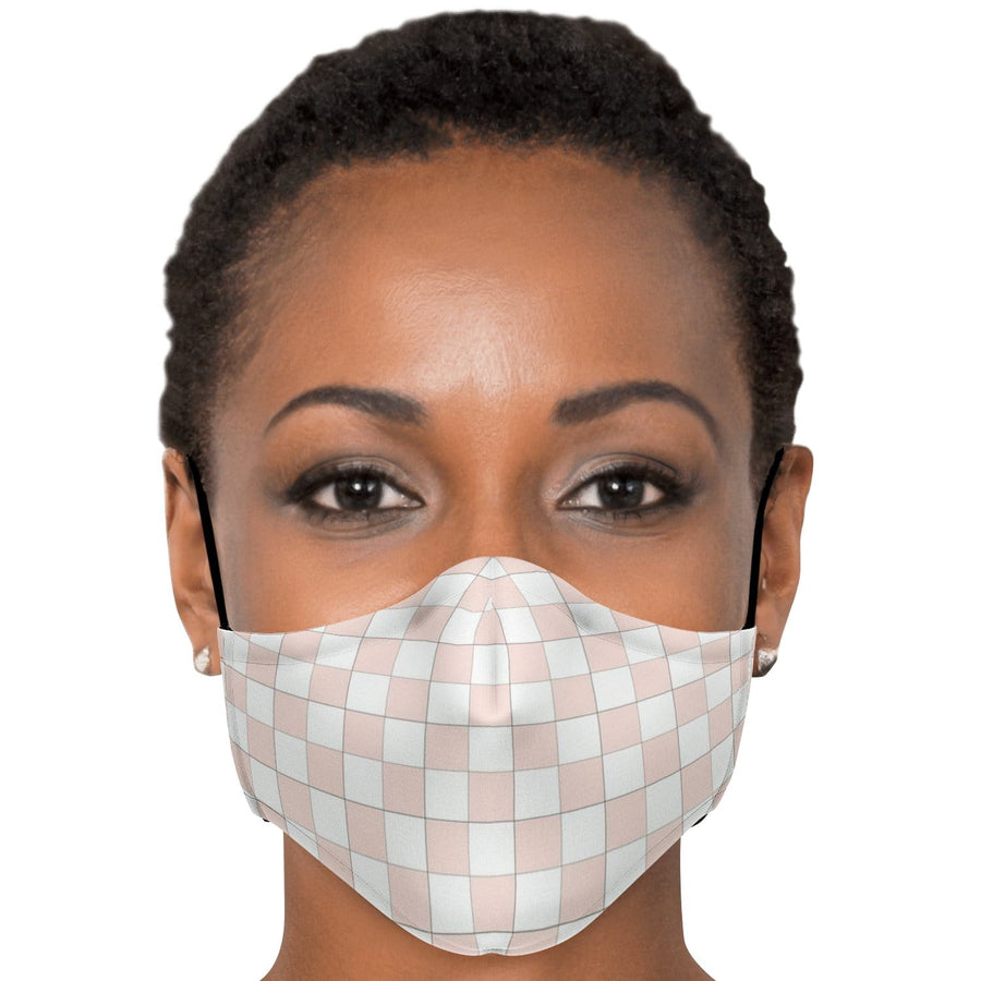 Misty Rose and White Checkered Face Mask