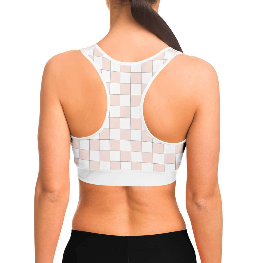 Misty Rose and White Checkered Sports Bra