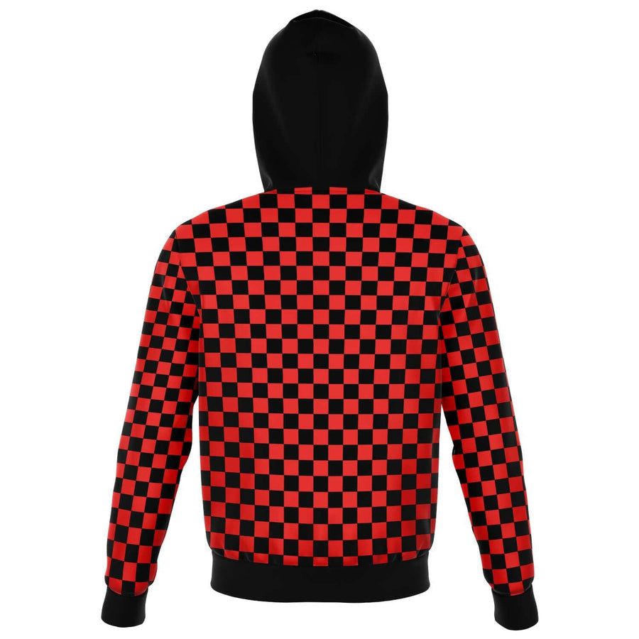 Red & Black Checkered Zip-up Fashion Hoodie