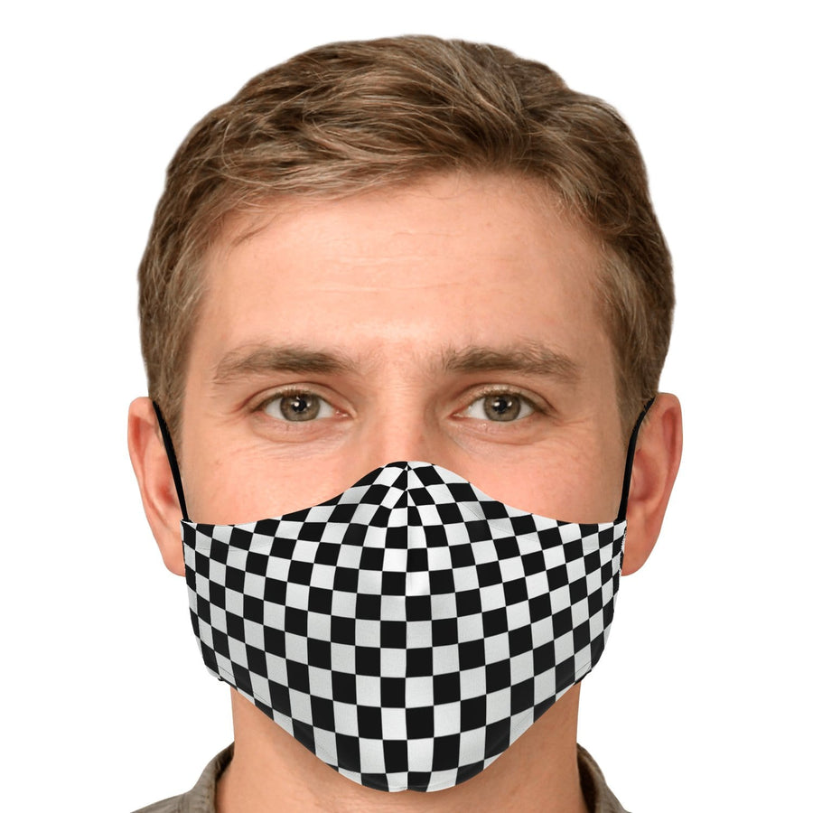 Black White Checkered Face Mask