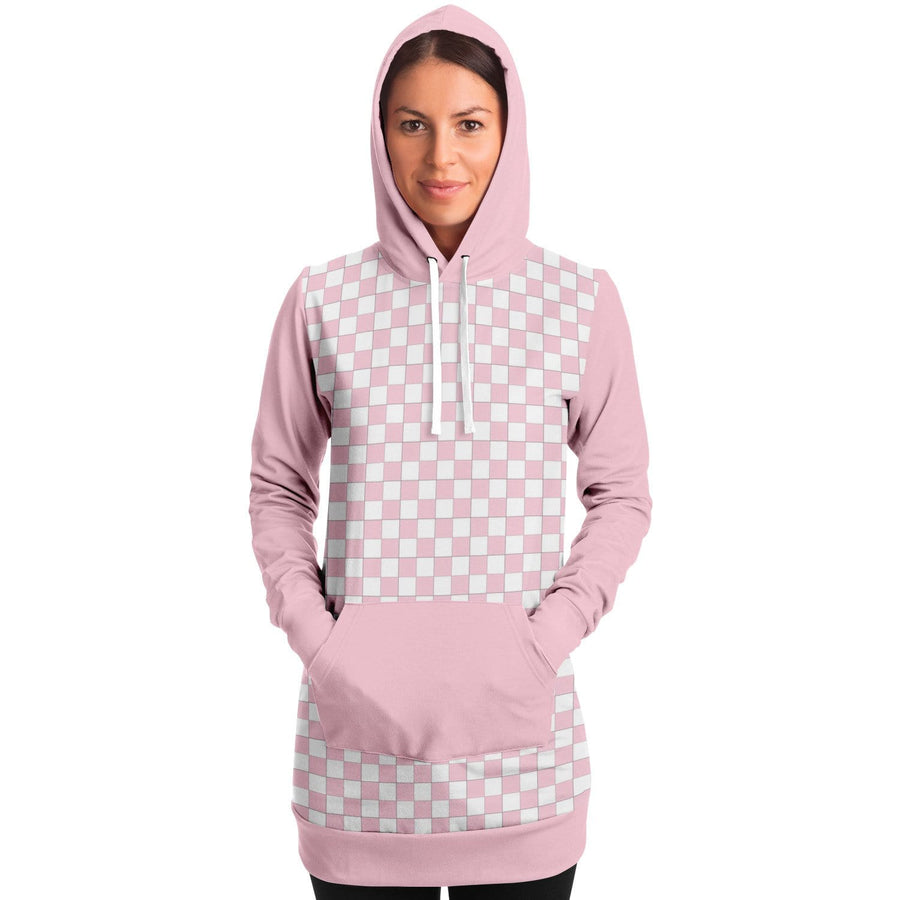 Pink & White Checkered Longline Hoodie