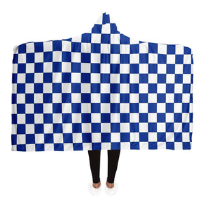 Blue and White Checkered Hooded Blanket