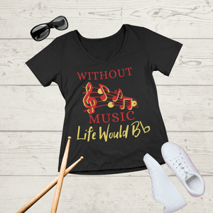 Without Music Life Would B flat V-Neck Tee