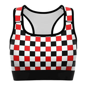 Red & Black & White Checkered Sports Bra