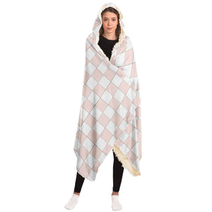 Misty Rose and White Checkered Hooded Blanket