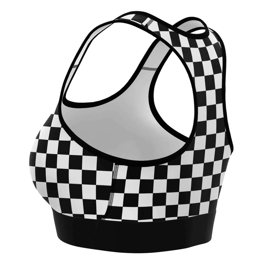 Black White Checkered Sports Bra