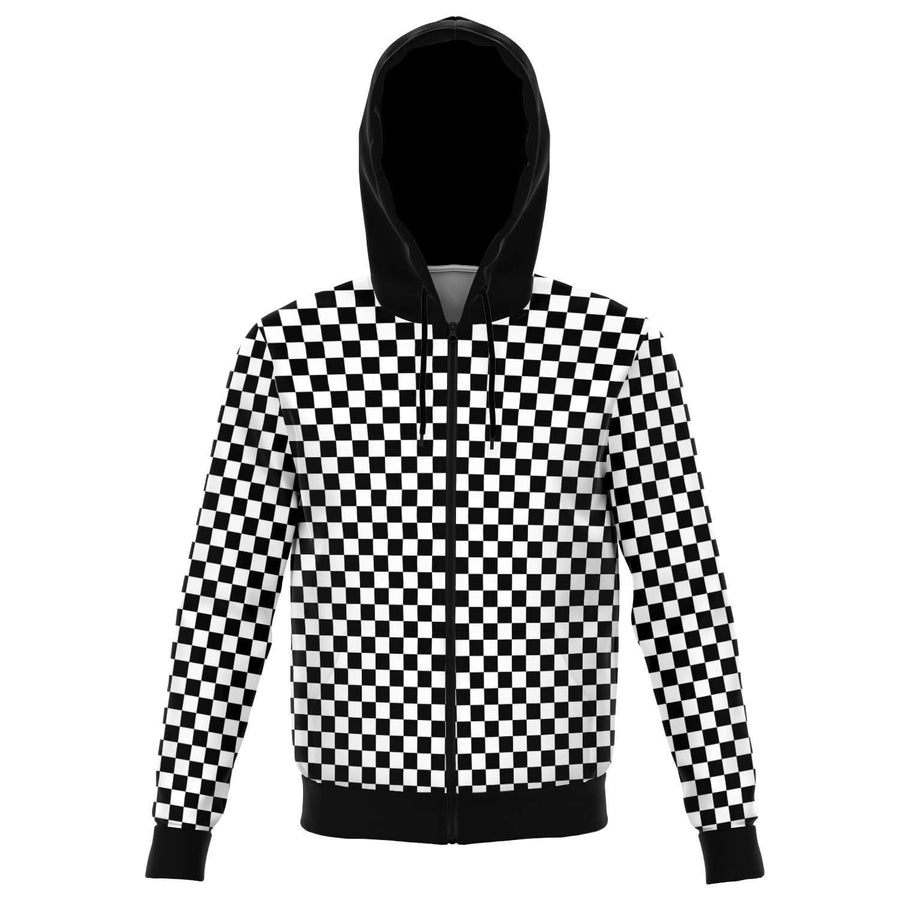 Black and White Checkered Zip-up Hoodie