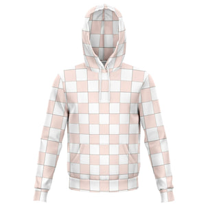 Misty Rose and White Checkered Hoodie