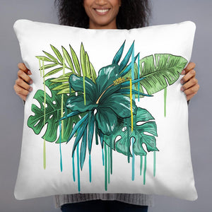 Green Hibiscus Pillow