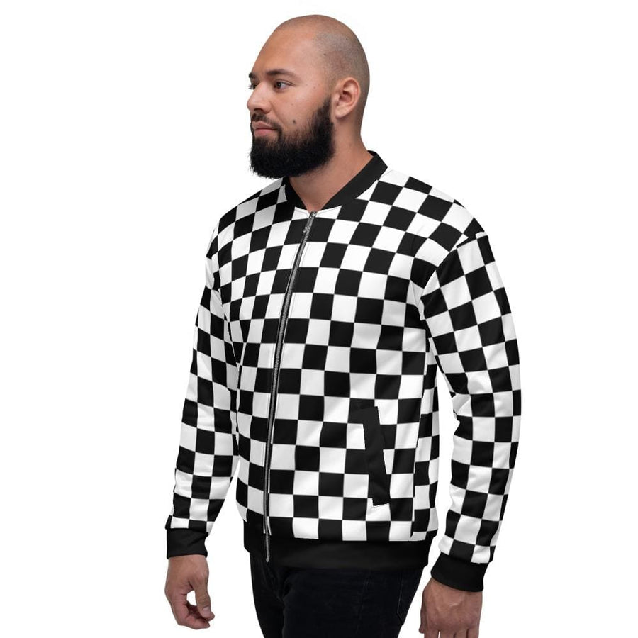 Black White Checkered Bomber Jacket