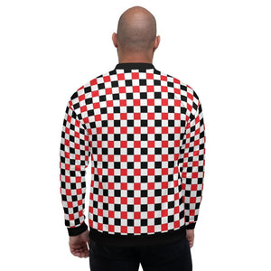 Red & Black & White Checkered Bomber Jacket