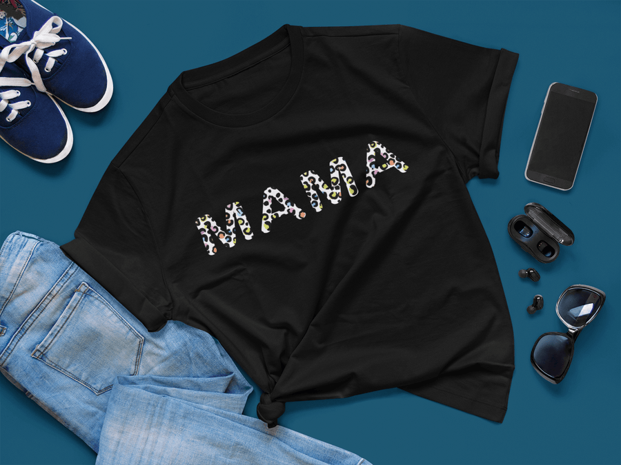 Mama Cheetah Print, Mama Vneck, Mothers day, Gift for Her, Mom Life Shirt, Mama Shirt, Mothers day, Leopard Print T-Shirts, Gift For Mom