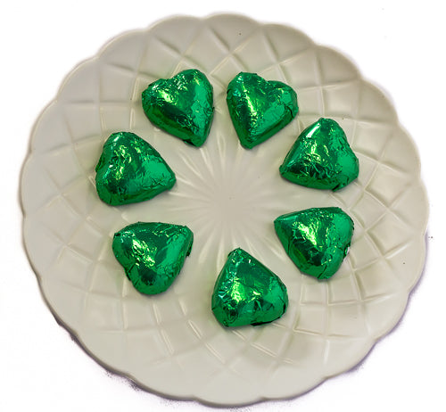 Hearts - Milk Chocolate Hearts in Green Foil