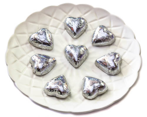 Hearts - Chocolate Hearts in Silver Foil (5kg bulk)