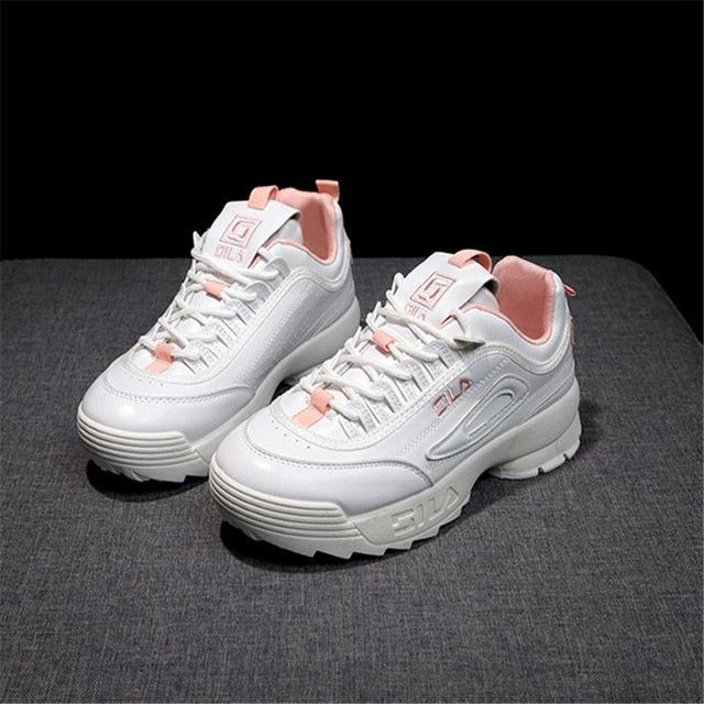 Women leather thick-soled Sports shoes woman Zapatillas Mujer Wedge running Shoes Fashion designers white Sneakers