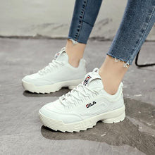 Load image into Gallery viewer, Women leather thick-soled Sports shoes woman Zapatillas Mujer Wedge running Shoes Fashion designers white Sneakers