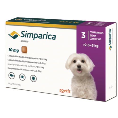 Simparica 10 MG con 3 tabletas (2.5 a 5 KG)