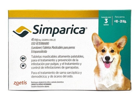 Simparica 40 MG con 3 tabletas (10 a 20 KG)