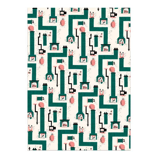 Santa Chimney Wrapping Paper