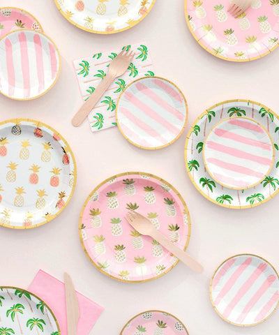 Pink Stripes Canape Plates