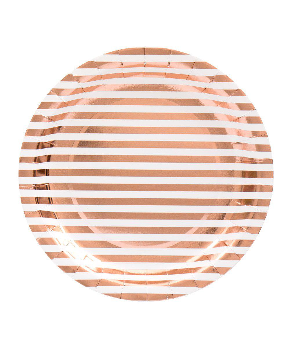 Stripe Rose Gold Plates