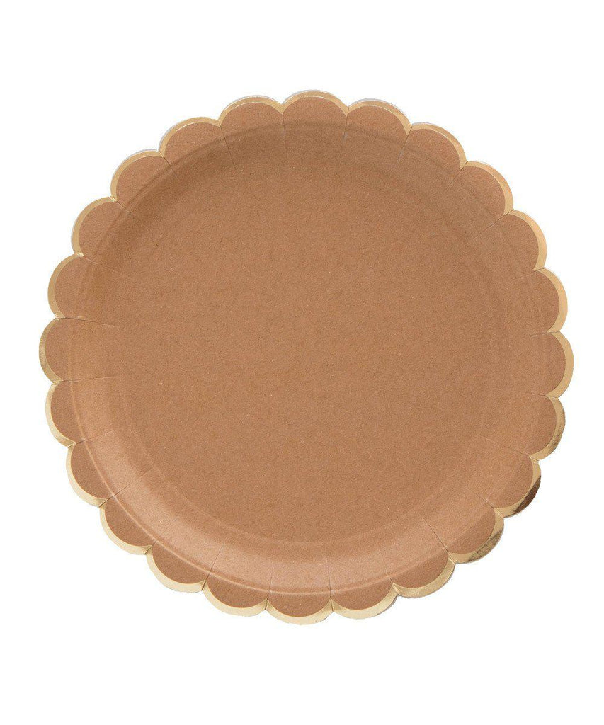 Kraft & Gold Large Scalloped Plates by Meri Meri