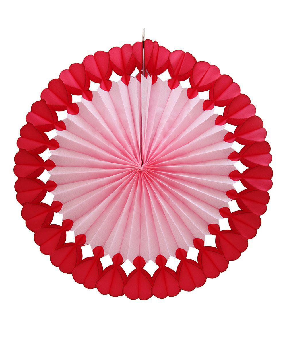 Tissue Paper Heart Fan 27""