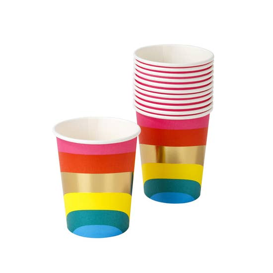 Bright Rainbow Paper Cups