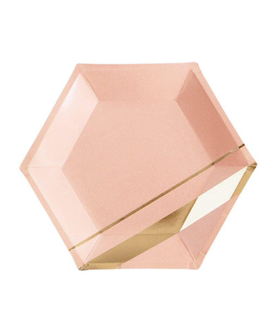 Blush Paper Plates with Gold Stripes
