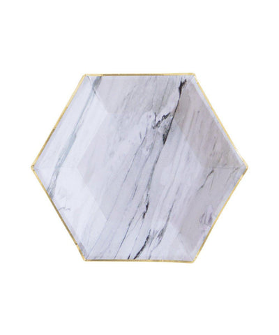 Harlow & Grey Marble Hexagon Small Party Plates