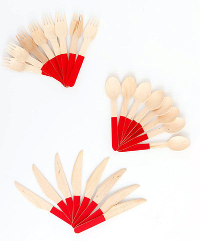 Color Block Wood Cutlery-Red
