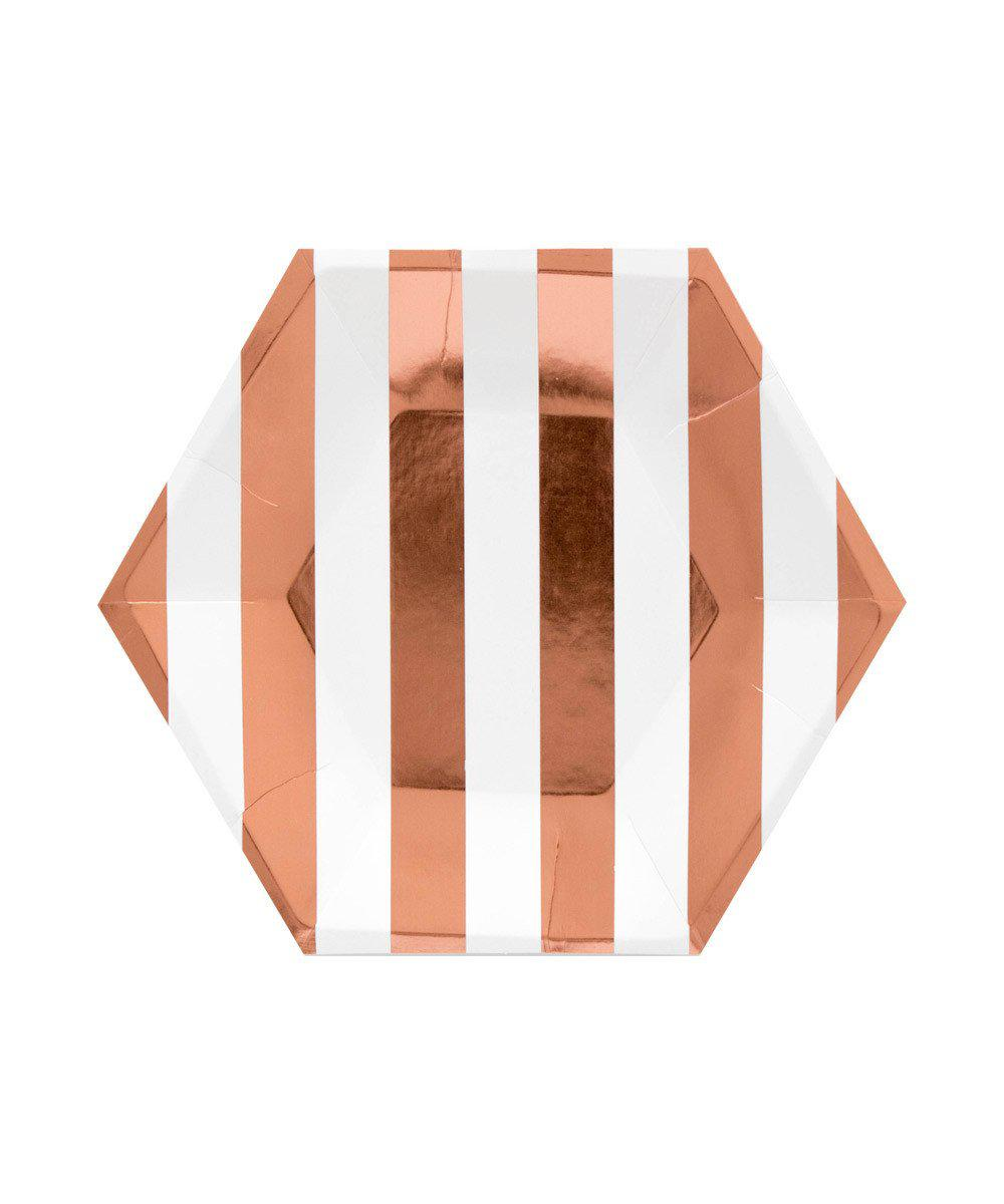 Rose Gold Stripe Plates (Small)