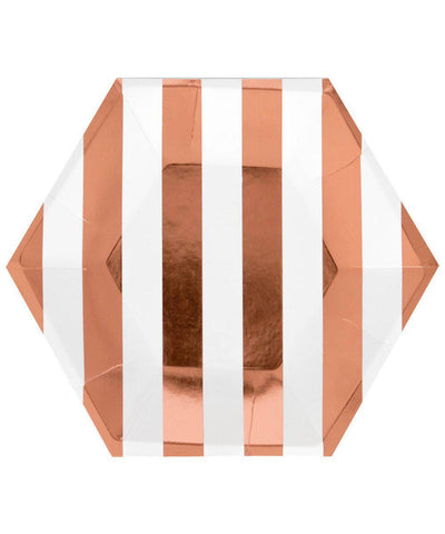 Rose Gold Stripe Plates (Large)
