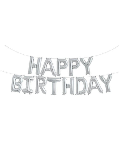 Silver Happy Birthday Banner Balloons