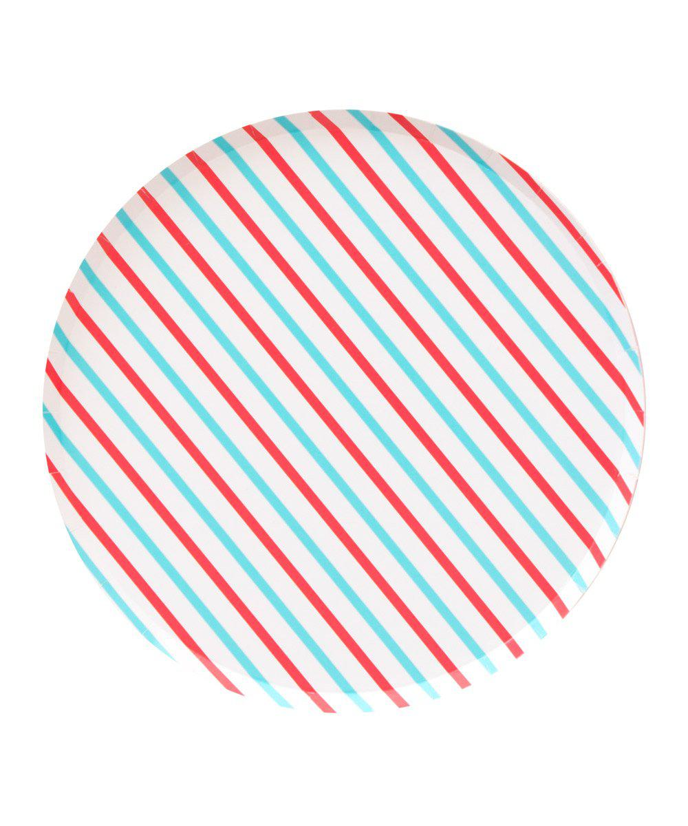 Oh Happy Day Cherry & Sky Stripes Plates (Large)