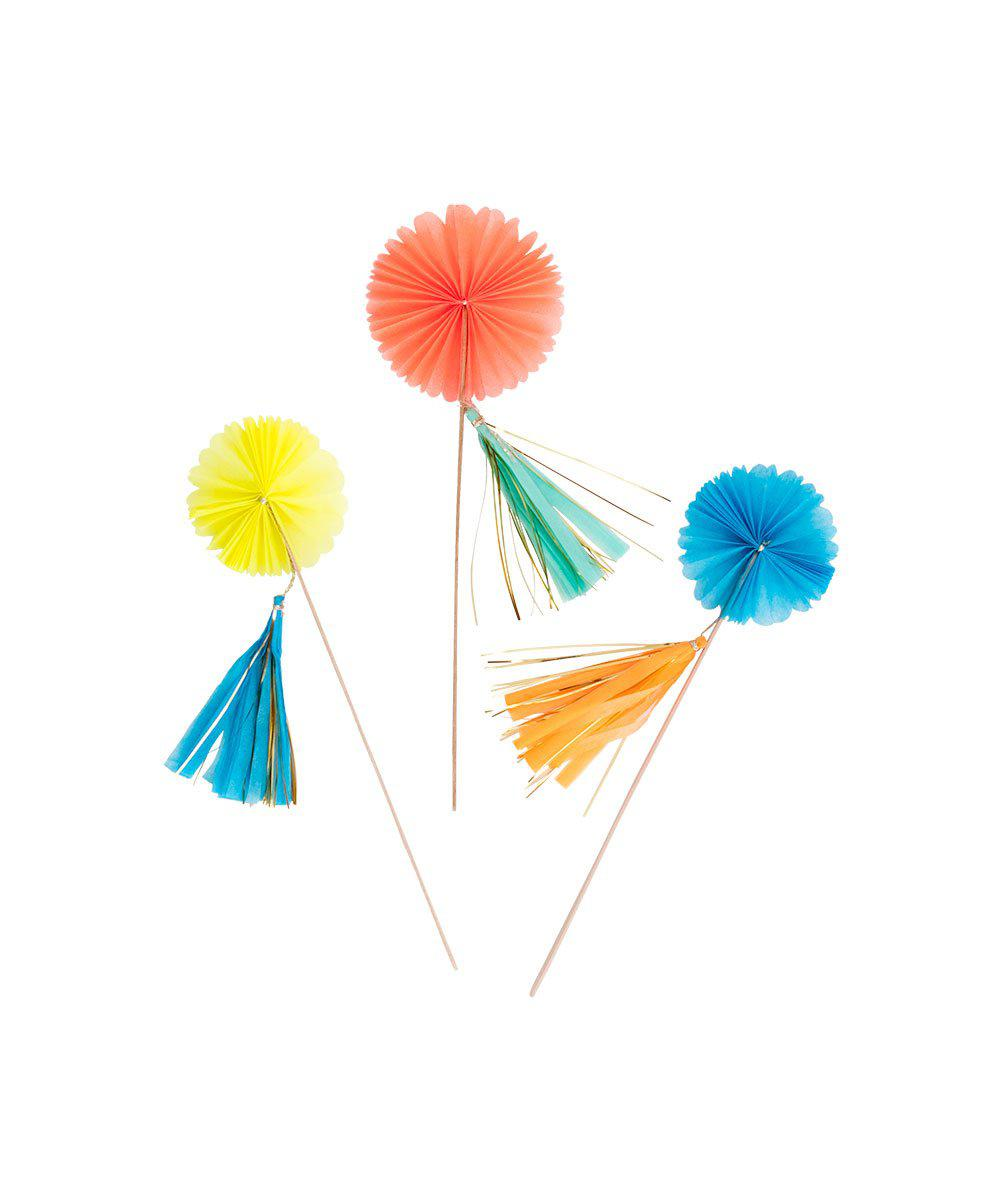 Tissue Paper Fan Cake Toppers