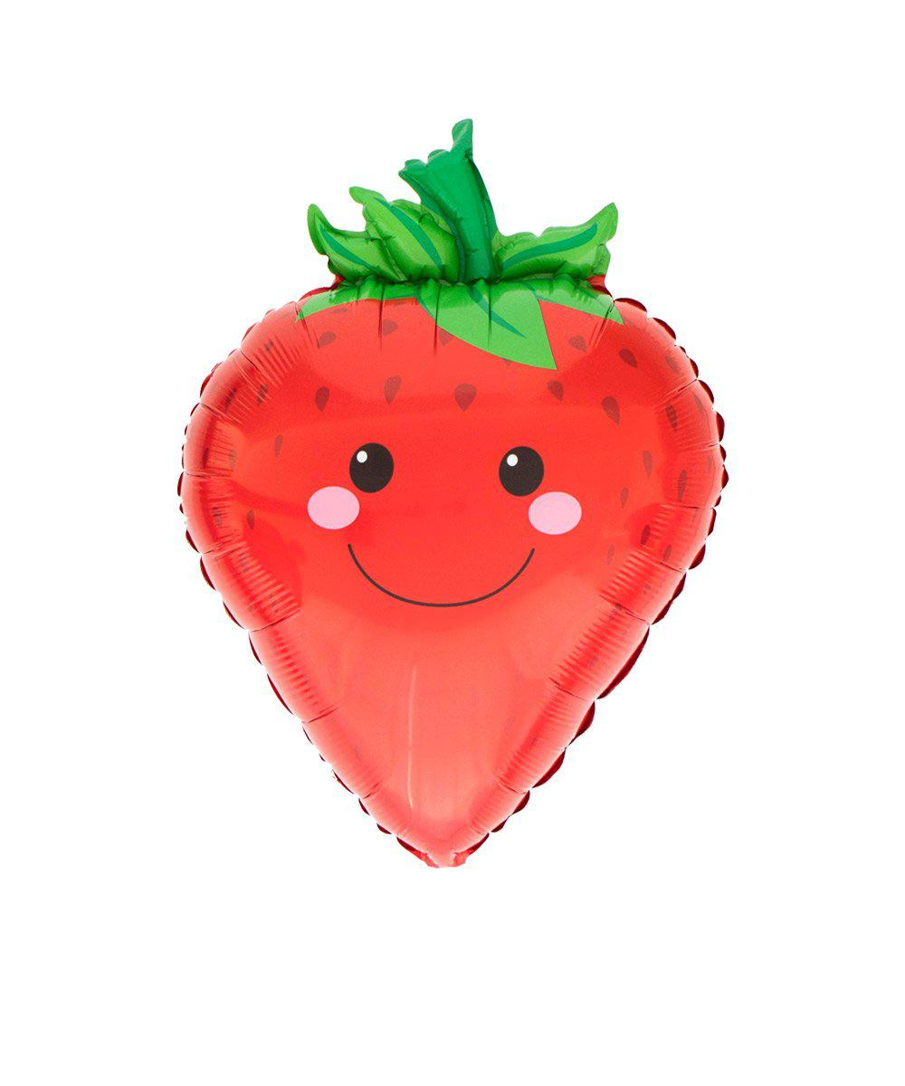 Mylar Smiley Strawberry Balloon