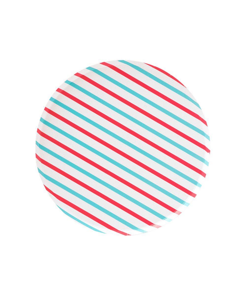 Oh Happy Day Cherry & Sky Stripes Plates (Small)