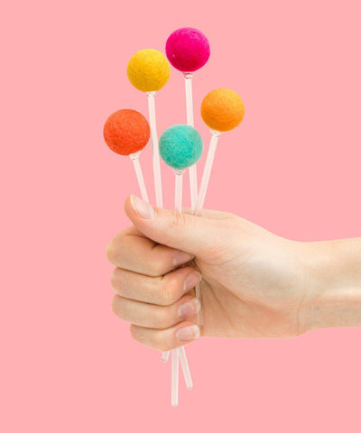 Felt Ball Drink Stirrers (Multicolor)