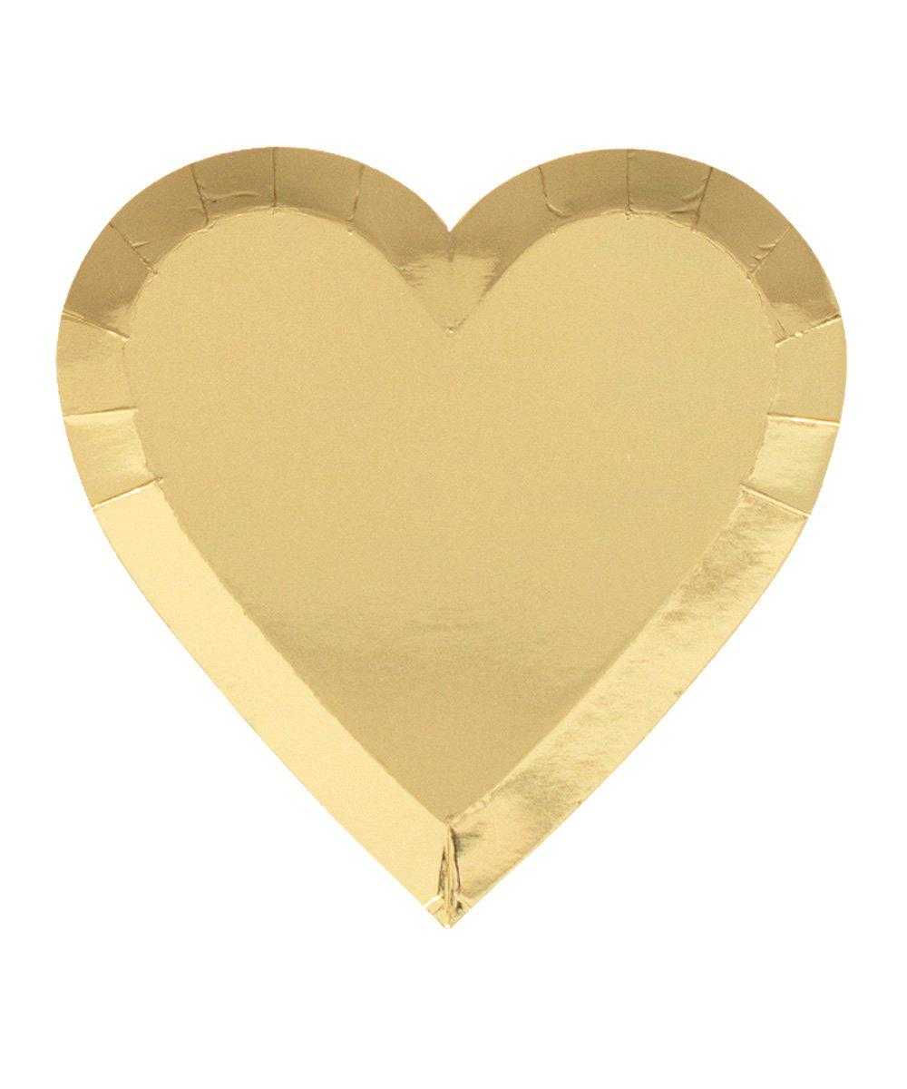 Gold Foil Heart Plates (Large)
