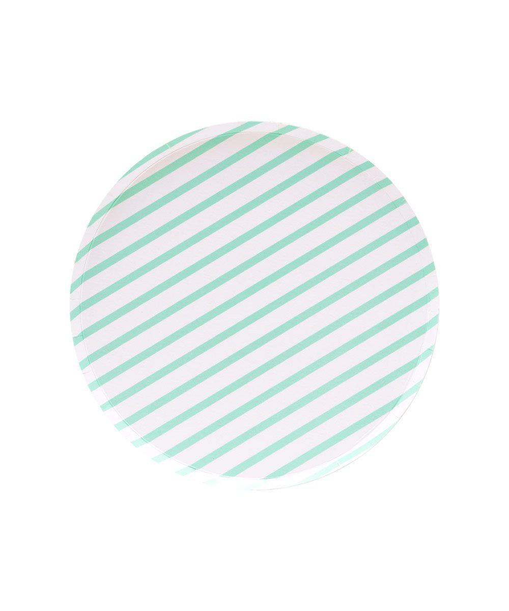Oh Happy Day Mint Stripes Plates (Small)