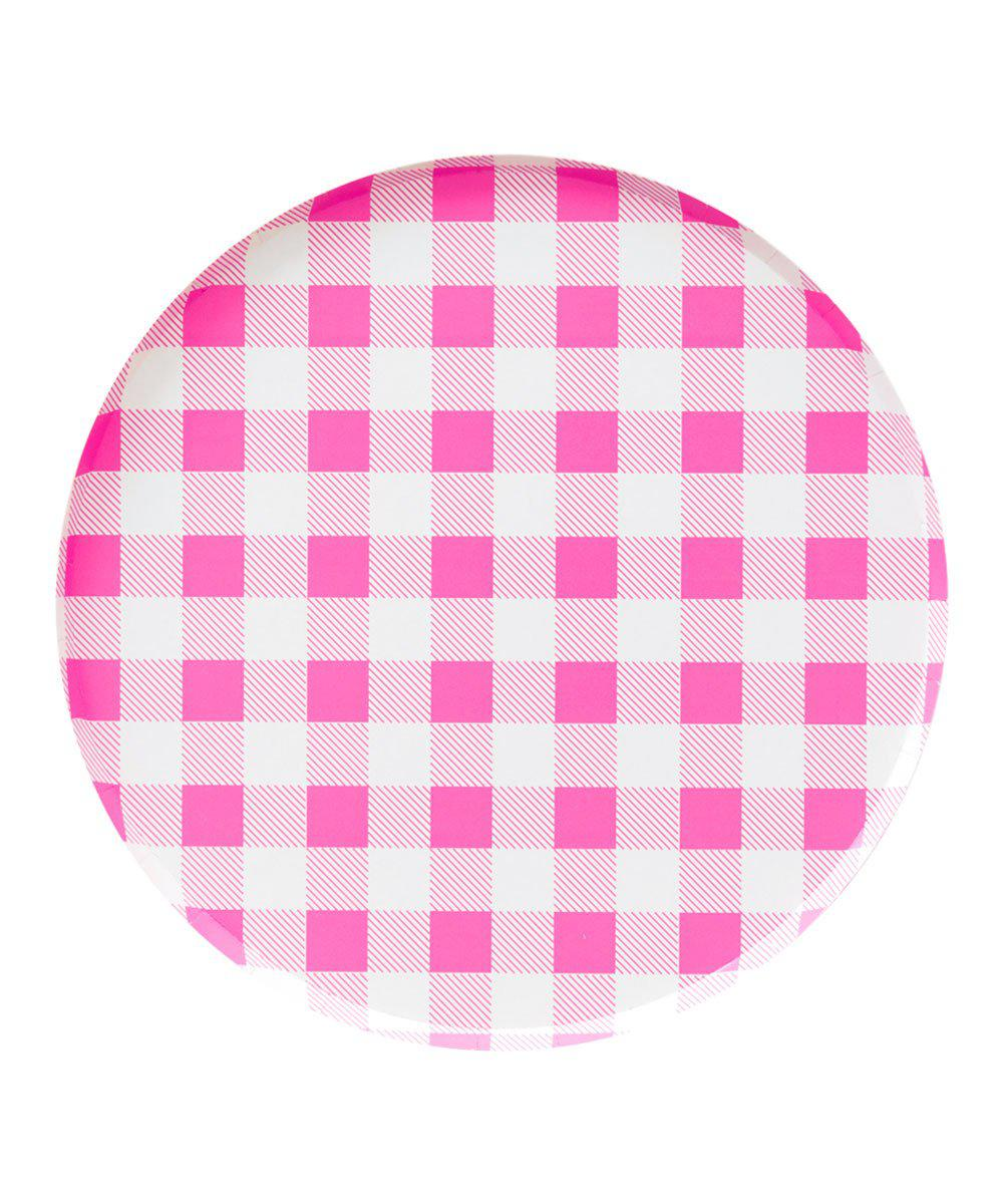 Oh Happy Day Neon Rose Gingham Plates (Large)