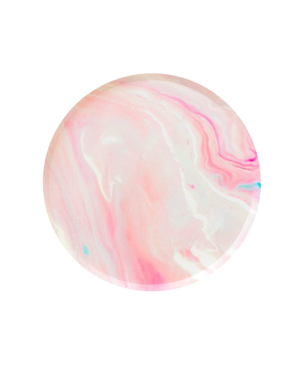 Oh Happy Day Pink Marble Plates (Small)